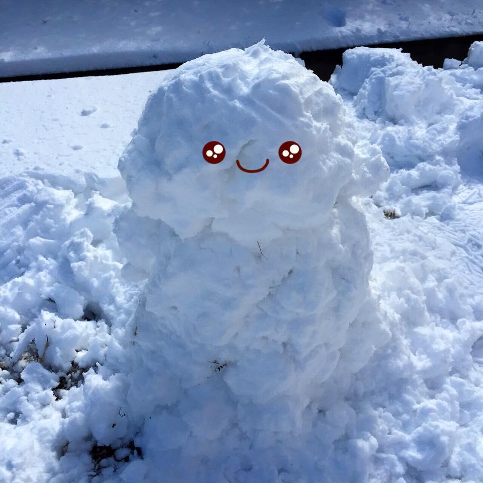 Cố gắng xây xong anh người tuyết mini này thì đỏ và cứng hết cả tay vì lạnh...